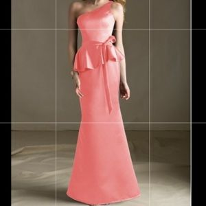 Mori Lee One shoulder satin dress light pink